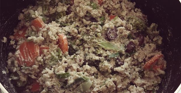 Arroz integral com legumes e tahine