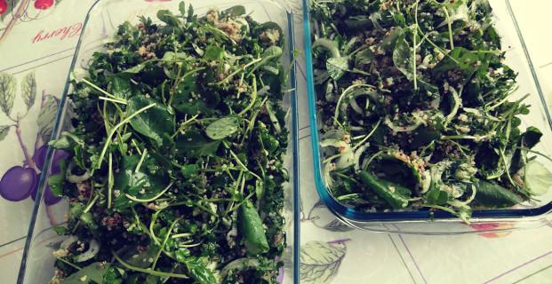 Salada de quinoa e agrião